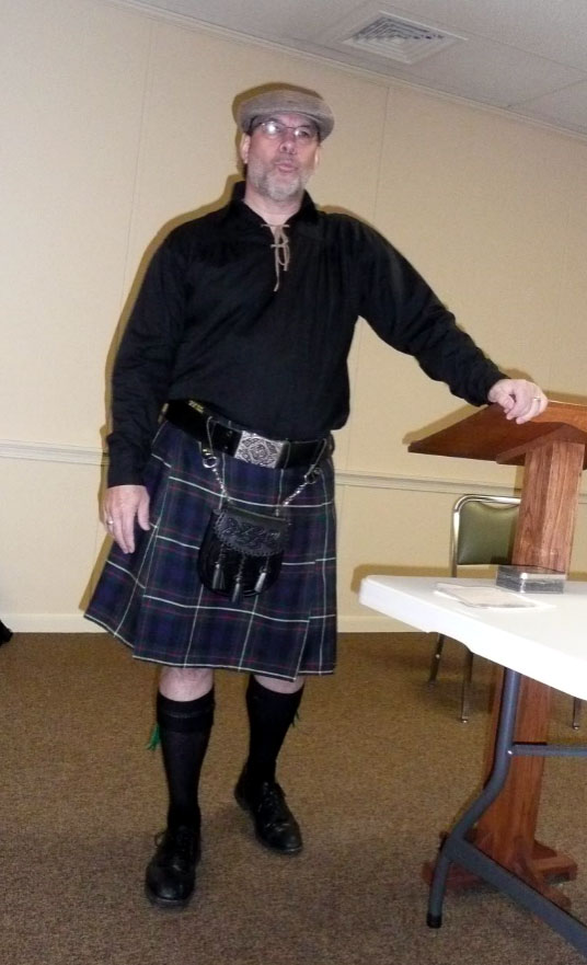 Clark Lowery wearing Irish kilt at the JCGHO May 2016 meeting